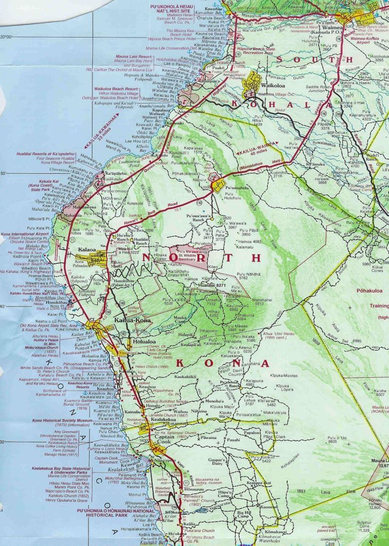 Map Of Kona Maps of parts of the Big Island: Kailua Kona, Kohala coast  Map Of Kona