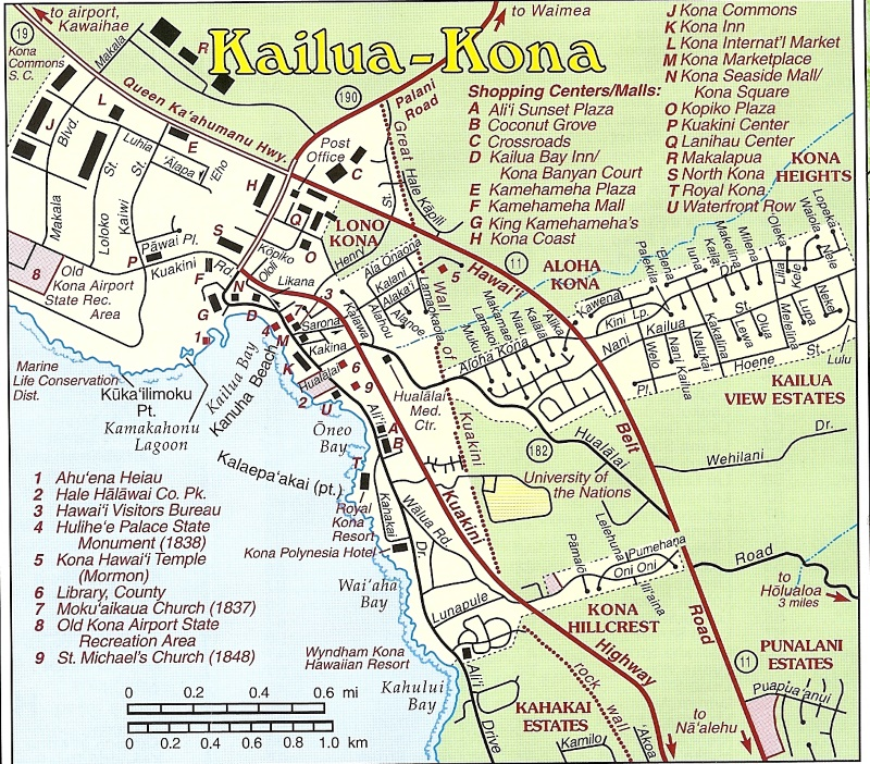 Map Of Kona Maps of parts of the Big Island: Kailua Kona, Kohala coast  Map Of Kona